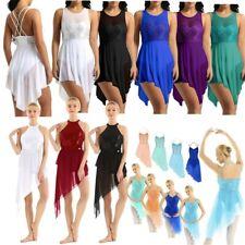 Women's Girls Lyrical Gymnastics Irregular Ballet Leotard Dress Skirt Dancewear