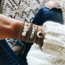 Trendy 6Pcs/Set Ladies Gold Natural Stone Moon Opening Bangle Chain Bracelet New