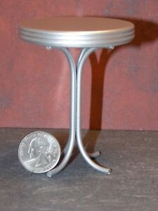 Dollhouse Miniature 1950's Tall Round Table Silver 1:12 one inch scale Y6
