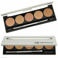 W7 Camouflage Kit Cream Contour Concealer Palette 5 Shades - Mirror & Brush