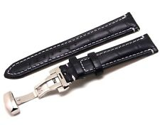 20mm Black Crocodile Grain Leather Contrast Stitch Watch Band Butterfly Clasp
