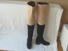 $2550 Chanel Black/ Beige Suede & Leather Thigh High Over The Knee Boots 39 New