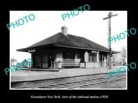 OLD LARGE HISTORIC PHOTO OF GREENLAWN NEW YORK, THE RAILROAD STATION c1920