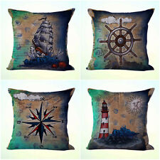 US Seller- 4pcs dining chair wholesale cushion covers compass lighthouse sailor
