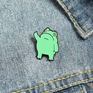 Cartoon Enamel Pin Green Frog Brooch Animal Lapel Funny Badges Jewelry Gift Fans
