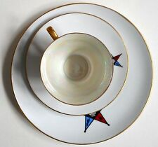 VTG Bareuther Cup Saucer Dessert Plate Set Bavaria Germany White Star Iridescent