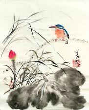 """Original Chinese / Japanese Sumi-e brush water-ink painting """"Kingfisher & Lotus"""""""