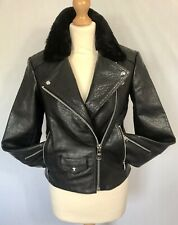 ALLSAINTS Black Leather PATAYA LUX fitted Biker Jacket Size 8 Shearling collar