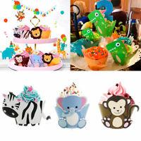 12pcs Jungle Safari Animals Dinosaur Cake Wrapper Toppers Birthday Party Decor