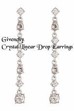 Givenchy Crystal Linear Drop Earrings, Silvertone, NWT $58