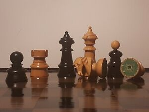Large Antique Wooden Chess Set