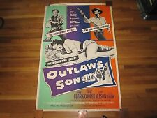 "VINTAGE 1957 60"" X 40"" FULL SIZE - OUTLAW'S SON MOVIE POSTER - GOOD CONDITION"