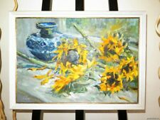 RARE SUNFLOWERS OIL CANVAS ORIGINAL PAINTING RUSSIAN ART FRAMED SIGNED Van Gogh