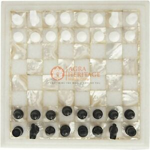 White Marble Chess Set Inlaid Mop Stone Mosaic Designer Table Top Play Room Deco