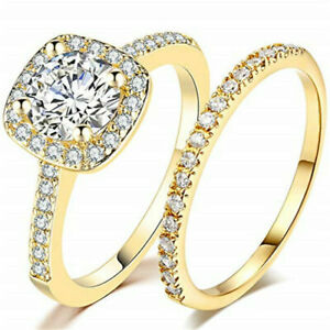 1.60 Ct Round Cut Diamond 10k Yellow Gold Fn Wedding Halo Bridal Ring Set