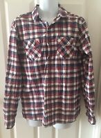 Men's Carbon Western Shirt Pearl Snap Large Classic Fit Poly Cotton Red Plaid
