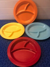"Pottery Barn Kids 4 Divided Plates  Melamine Round 3 Sections 10"" Good Condition"