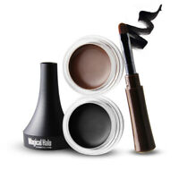 SET Waterproof Black Eye Liner Eyeliner Gel Shadow Gel Makeup Cosmetic + Brush