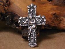 Large Sterling Silver Angel Cross Pendant