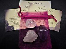 Rose Quartz/Amethyst/Clear Quartz - 3 Crystal Gemstones - Chakra Reiki Healing