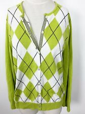 Lands End Large L Cardigan Button Down Sweater Argyle Green White Womens 14-16