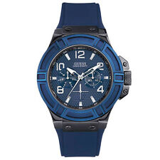 NEW GUESS WATCH Men * Blue Silicone Strap Band * Day/Date * U0248G5/W0248G5