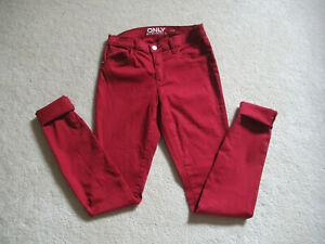 "JEANS Skinny 36 FEMME"" ONLY"" ROUGE BORDEAUX"