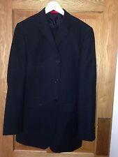 """Mens 2 Piece Smart Black Suit - Jacket 38""""L Trousers 32""""L Long Burton - Exc Cond"""