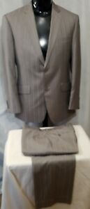 Size 38 / 32 Xsight mens 2 button check wool blend suit grey business stripe