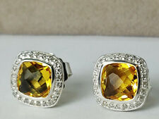 David Yurman Sterling silver Albion Earrings, 7mm Lemon Citrine with Diamonds