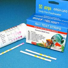 Easy-Life 6 in 1 Teststreifen 50 Stück: pH (5,5-9,5) KH GH TC NO2 NO3 Wassertest