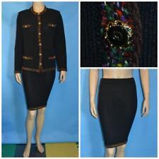 St John Collection Black Jacket Skirt L 14 12 2pc Suit Fringes Multicolor