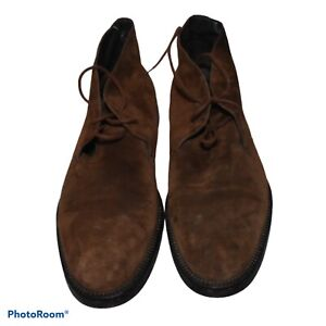 Hugo Boss Chukka Ankle Boots Brown Suede Men Size US 8.5 made in Italy