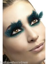 Black & Aqua Dots Feather Lashes Flower Fairy Butterfly Eyelashes Fancy Dress
