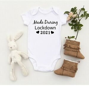 Made During Lockdown 2021 Funny Baby Vest Bodysuit All in One Social Distancing