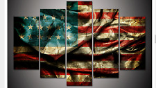 Large Framed American Flag Canvas Print Five Piece Wall Art Home Decor Patriotic
