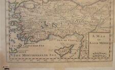 c.1700 MAP OF ASIA MINOR SYRIA ARMENIA MEDITERRANEAN SEA CYPRUS GALATIA LESBOS
