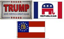 3x5 Trump White #2 & Republican & State of Georgia Wholesale Set Flag 3'x5'