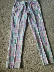 Vineyard Vines Patchwork Madras Plaid Slim Fitting golf pants 32x32 Cotton Flat