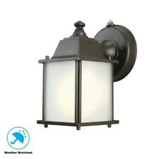 Hampton Bay 1-Light Bronze Outdoor Dusk-to-Dawn Wall-Mount Lantern Sconce