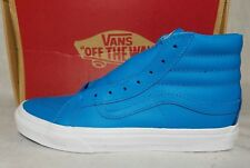 Vans New Sk8 Hi Slim Neon Leather Blue True White Skate Shoe Women Size 8.5