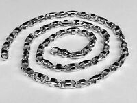 14k Solid White Gold Anchor Mariner Bullet chain necklace 6.5 MM 48 grams  20""