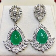 COLOMBIAN! 4.63TCW Emeralds Diamond 18K WHITE gold Earrings dangling chandelier