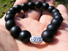 Matt Black Agate Crystal Love Bracelet A Grade 10mm Beads Gemstone