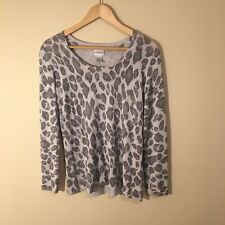 Chicos Long Sleeve Scoop Neck Shimmer Animal Print Leopard Knit Sweater Top 1