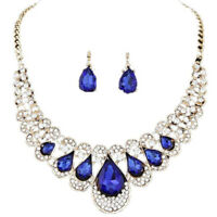 Crystal Rhinestone Teardrop Pendant Necklace Earring Wedding Bridal Jewelry OO