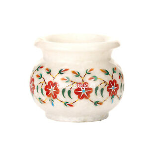 """3""""x3.5'' Marble Flower Pot Hakik Stone Inlay Floral Marquetry Gifts Decor H3604"""