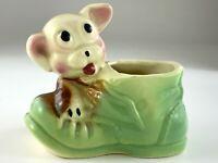 Vintage Ceramic Puppy Dog on Shoe Planter Pot Vase Figure U716
