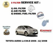 Para Toyota Auris 1.4 D4d Diesel 2006-12/2008 Aceite Aire Combustible 3 Kit de