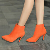 Women's Suede Ankle Boots Back Zip Pointy Toe Stilettos High Heels Casual Shoes